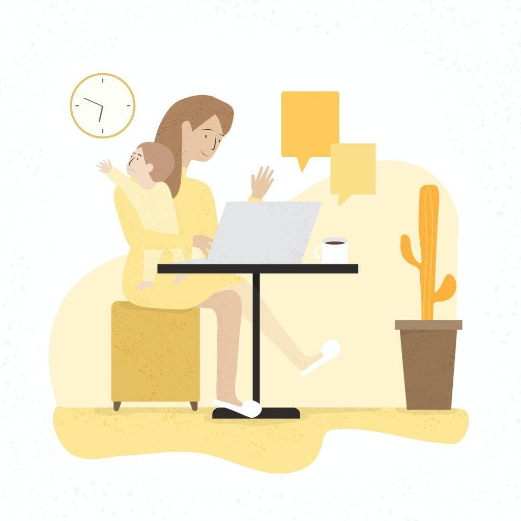 illustration of a mother sitting at a table in front of a laptop, smiling and waving at the screen with her left hand while holding a baby with her right arm